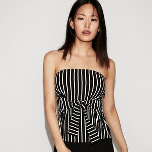 Express Striped Tie Front Tube Top